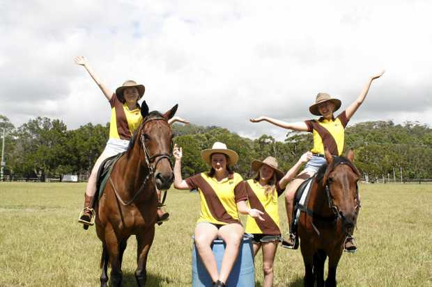 GIDDYUP:  Tia Frost , Rhiannon Gamlin, Sydney Johnson and Kaelah Gamlin  are excited for the rodeo.