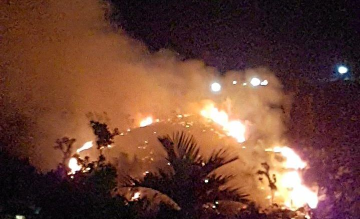 The blaze at Airlie Beach on Sunday night.