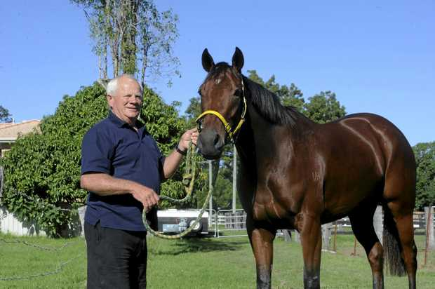 Trainer Neville Stewart wiht Push the Sky Away who is racing on Monday, May 1 at the CRJC.