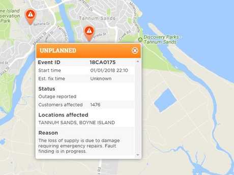 UNPLANNED: Ergon Energy is reportedly dealing with a power outage affecting 1476 customers at Boyne Island and Tannum Sands.