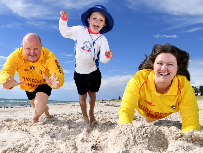 Three generations of surf lifesavers — Robert Thompson, Kate Size and Jayden Size, at Grange. Picture: Tricia Watkinson