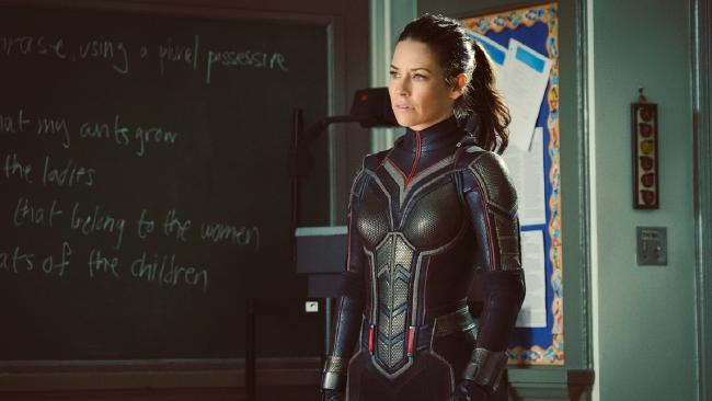 Evangeline Lilly all decked out in the Wasp suit