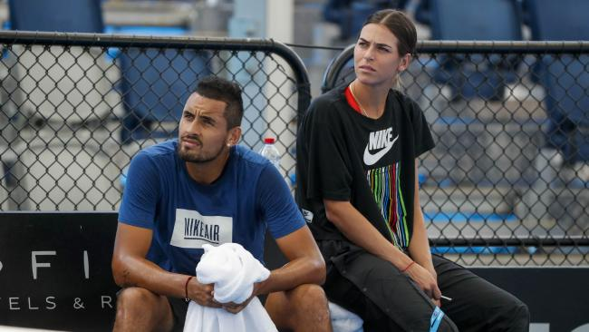 Nick Kyrgios and girlfriend Ajla Tomljanovic during a practice session in Brisbane.