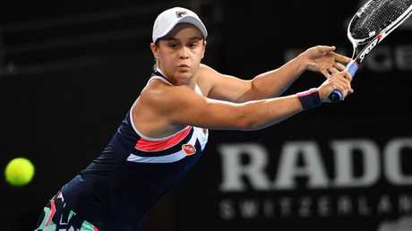 Ash Barty in action against Lesia Tsurenko at the Brisbane International.