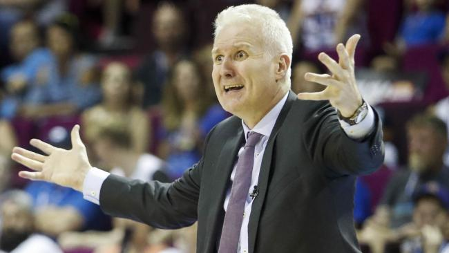 Sydney Kings coach Andrew Gaze not happy with a call.