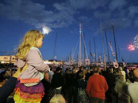 Revellers enjoy the celebrations at the Hobart waterfront. Picture: Mathew Farrell