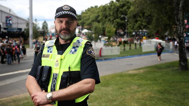 Senior Sergeant Darren Latham speaking about New Year's Eve behaviour in Hobart and at the Falls Festival at Marion Bay, which ended today. Picture: LUKE BOWDEN