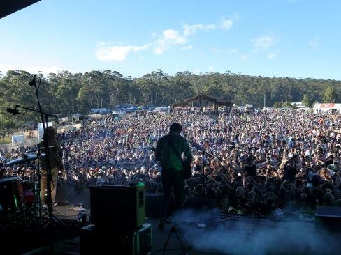 The huge Falls crowd enjoying the sounds of Bernard Fanning on day three of the Marion Bay festival. Picture: LUKE BOWDEN