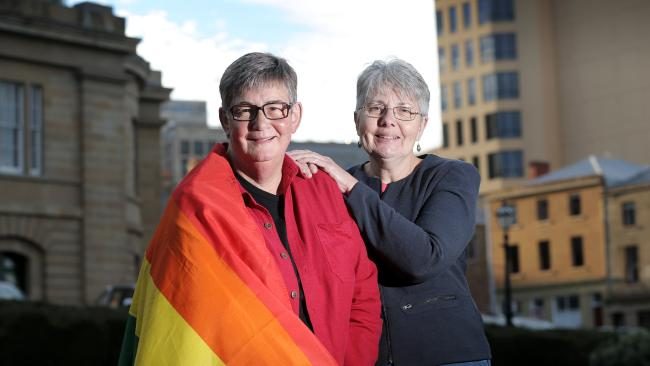 The WA Premier apologised to gay people like Mez Newman and Cate Warren for previous discriminatory laws. (Pic: Luke Bowden)