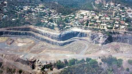 Aerial view of Bridge Street Quarry, site of planned quarry gardens, taken in 2003. Photo Contributed