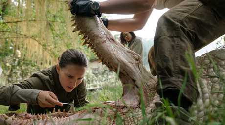 Natalie Portman and Tessa Thompson in a scene from the movie Annihilation.