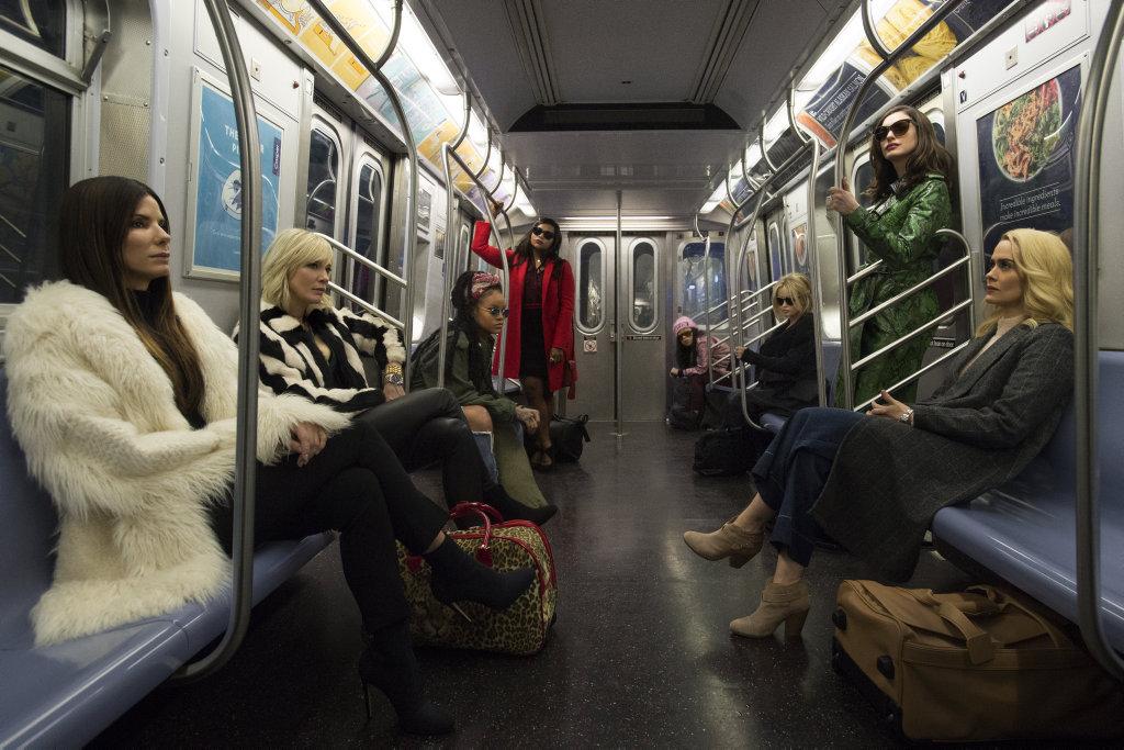 Sandra Bullock, Cate Blanchett, Rihanna, Mindy Kaling, Awkwafina, Helena Bonham Carter, Anne Hathaway and Sarah Paulson in a scene from Ocean's Eight.