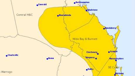 The Bureau of Meteorology has issued an update to today's weather warning.