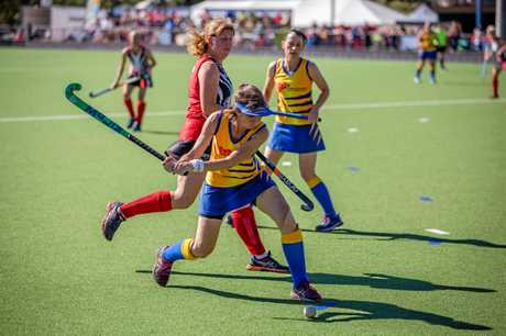 Action from the Queensland Women's Masters Hockey Championships.