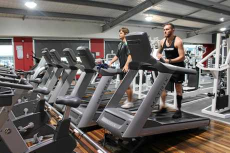 SHARED PASSIONS: Lewis and Aaron bonded over a love of sport and exercise at the WIRAC gym.