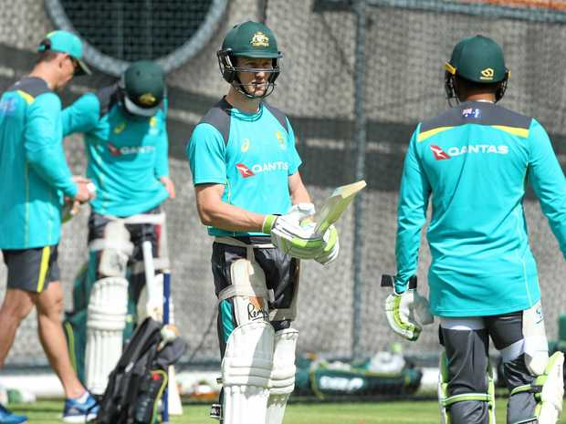 FIGHTER: Cameron Bancroft warms up in the nets before the SCG Test.