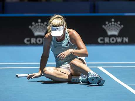 Coco Vandeweghe takes a tumble during her match against Australian teen Maddison Inglis.