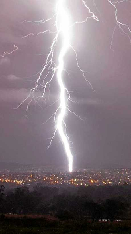 HISTORY REPEATS: The bolt of lightning that hit the Warwick Hospital in 2012.