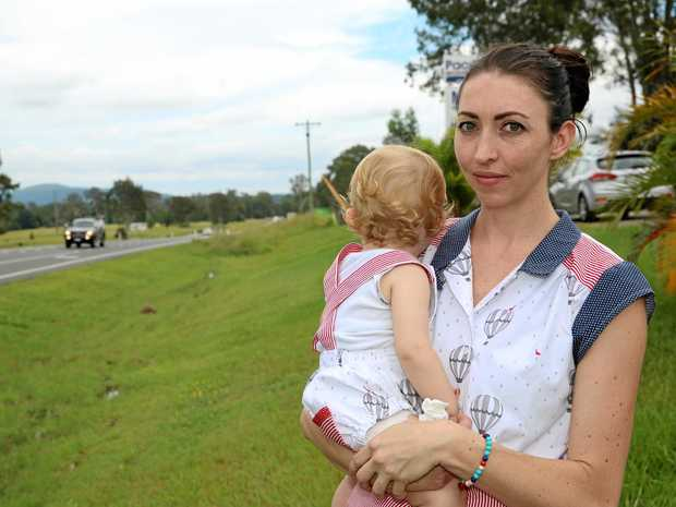 PROCEED WITH CAUTION: Glenwood mum Lauren Ambrose believes the drivers on the Bruce Hwy are the issue, not the road itself, and has urged people to take more care.