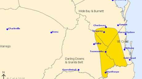 Storm warning issued by the Bureau of Meteorology at 12.45PM