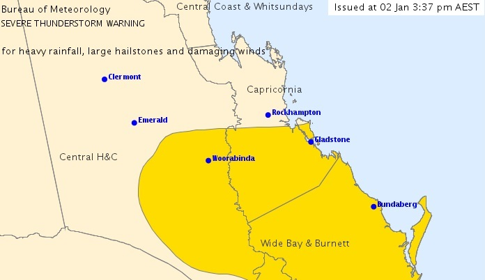 WARNING: The Bureau's severe weather warning now covers the entire Gladstone Region.
