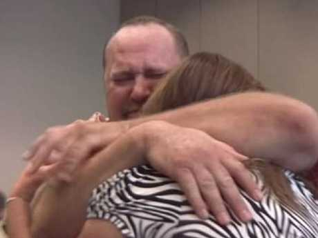 Loren and Lisa Krytzer after learning the blanket would make them millionaires. Picture: YouTube