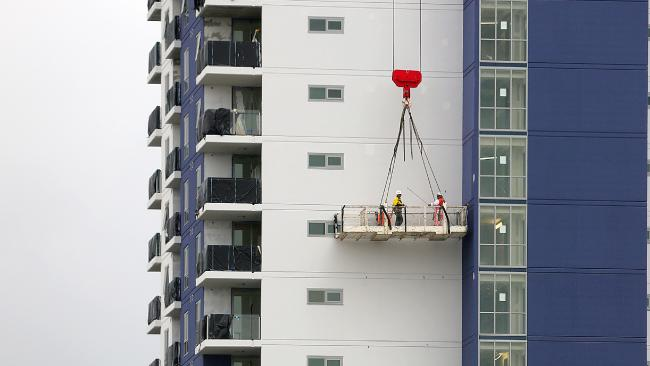 High-rise apartments under construction in Brisbane. Picture: Marc Robertson.