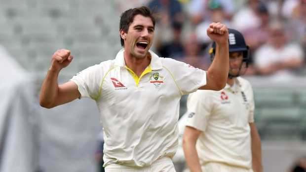 Pat Cummins celebrates one of his 15 wickets of the series.