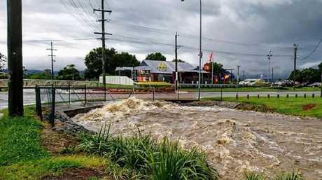 Flash flooding at Beaudesert. Photo: Sam Hill