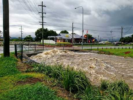 Flash flooding at Beaudesert. Photo: Sam Hill