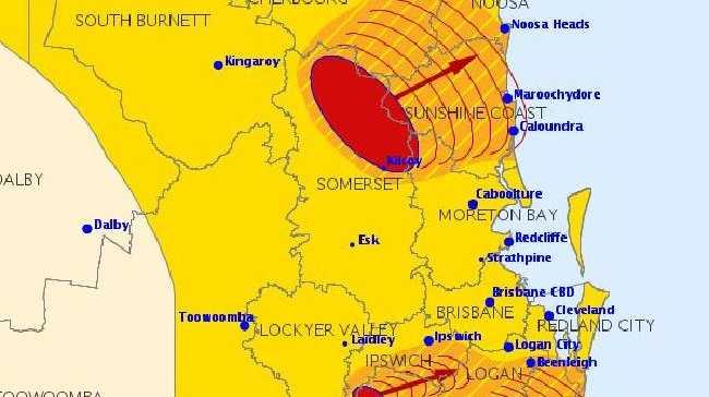 The 2.23pm Bureau of Meteorology severe thunderstrom warning.