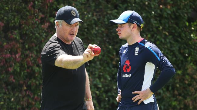 Stuart MacGill gives England leggie Mason Crane some tips. Picture: Phil Hillyard