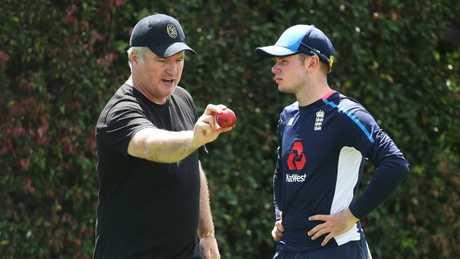 Stuart MacGill gives England leggie Mason Crane some tips. Picture: Phil Hillyard