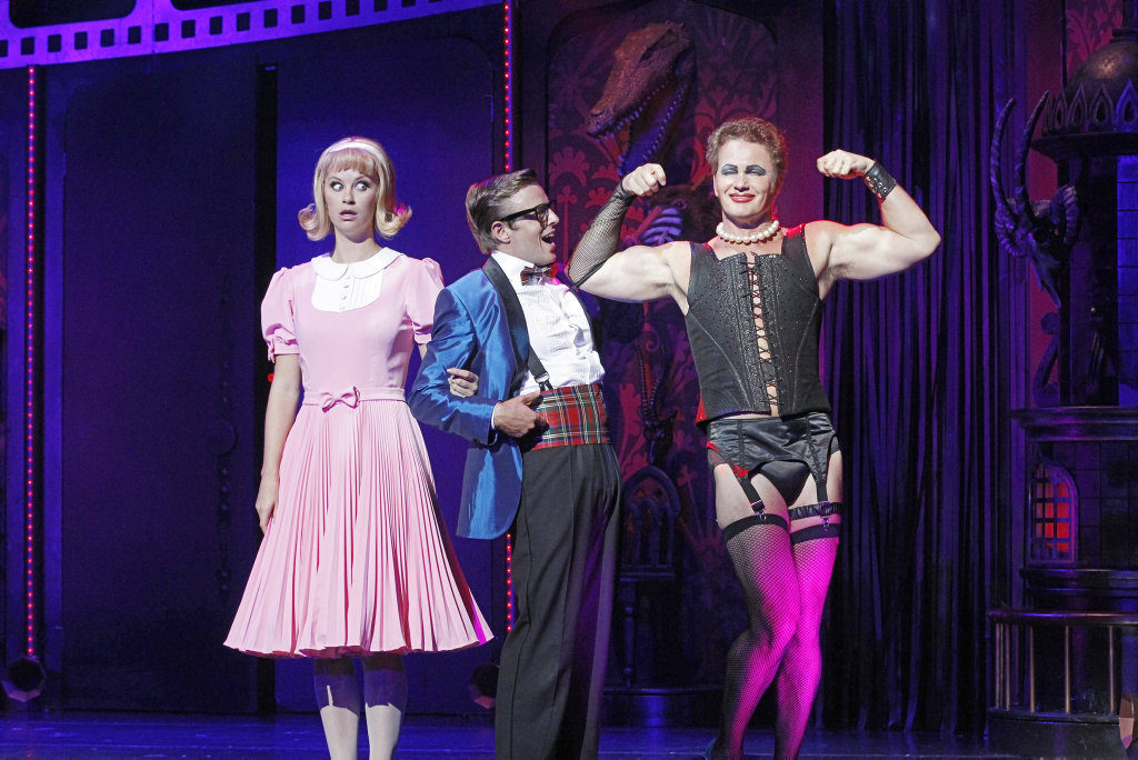 From left, Christie Whelan Browne, Tim Maddren and Craig McLachlan in a scene from the 2014 production of The Rocky Horror Show.