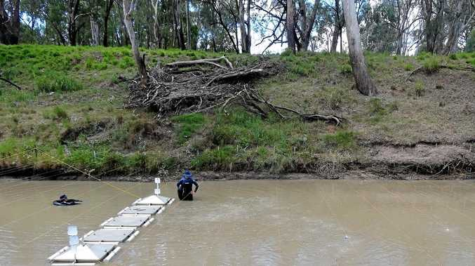 RIVER RESEARCH: Seep flow rates being measured in the Condamine river.