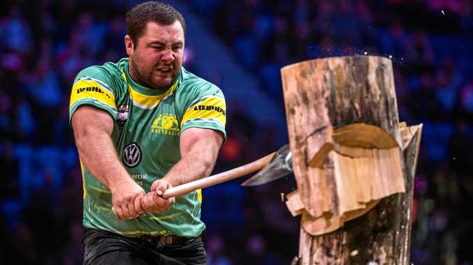 Blackbutt's Mitch Argent competing for the Chopperoos at the 2017 STIHL Timbersports World Championships in Norway.