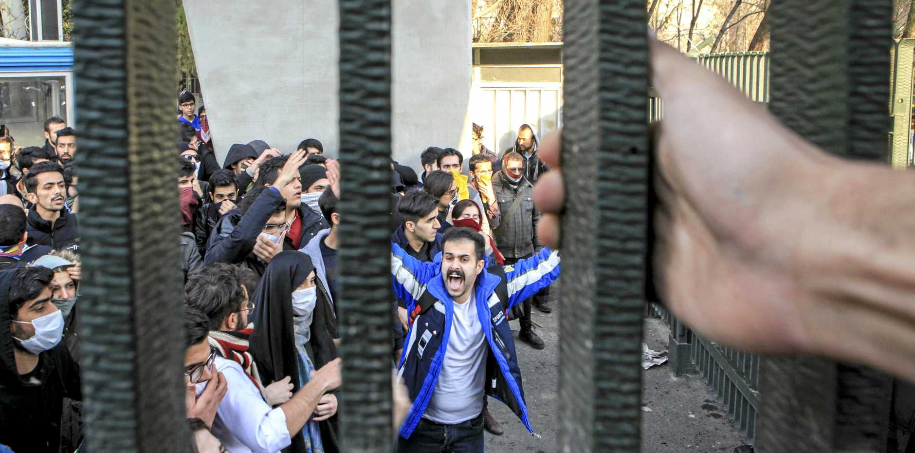 University students attend an anti-government protest inside Tehran University, Iran.