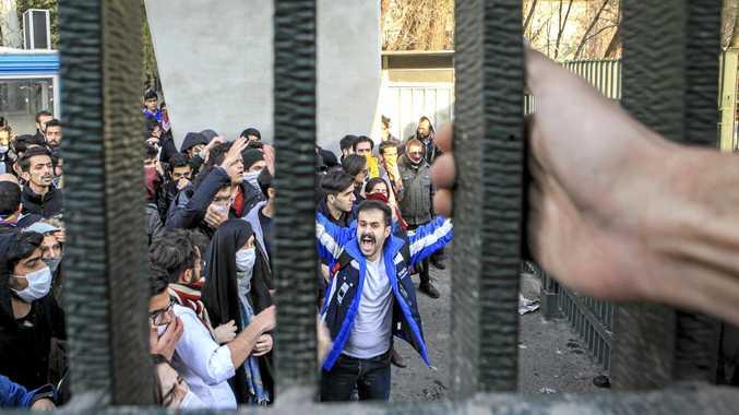 University students attend an anti-government protest inside Tehran University, Iran.