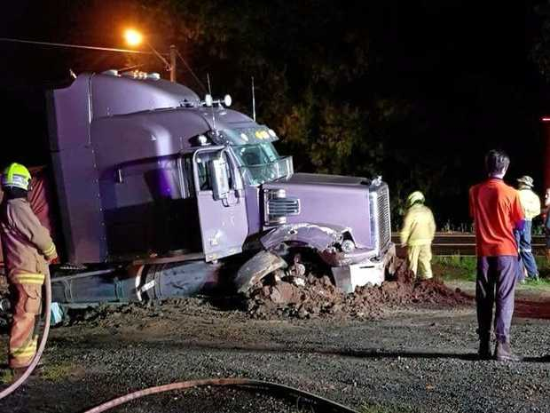 B-DOUBLE TROUBLE: Two trucks collided at Ulmarra on Tuesday night, causing one to hit an embankment.