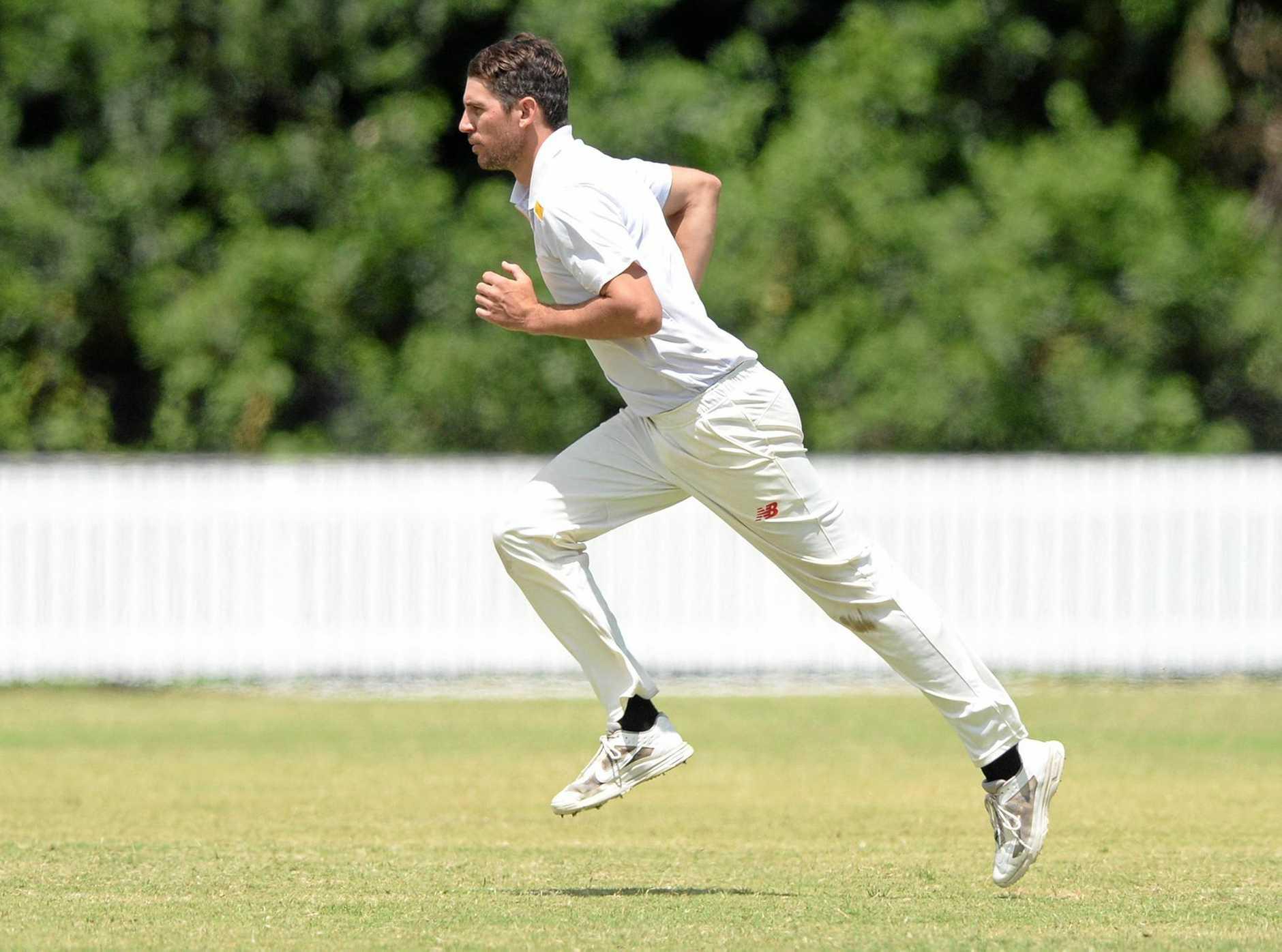 The Glen bowler Jason Seng in the cricket game against Frenchville.