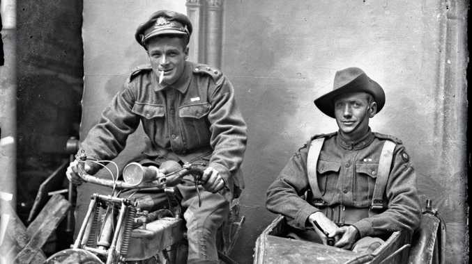 Sydney Hubert Carroll, 4th Machine Gun Battalion (right), and an unidentified 4th Brigade Headquarters staff officer, June-July 1918 - Courtesy Kerry Stokes Collection, the Louis and Antoinette Thuillier
