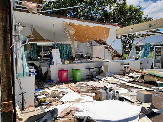 WRECKED: The large storm that hit Maclean also destroyed the Big River Sailing Club's clubhouse and a storage compound.