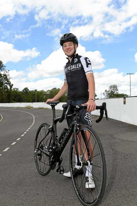 Fraser Coast Cycling Club member Bailey Walters at Maryborough Velodrome.
