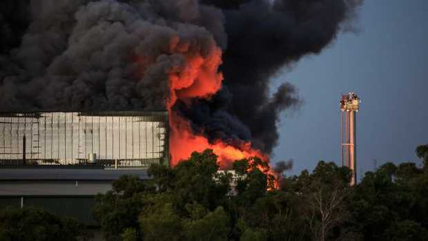 The raging fire at the Thomas Foods International facility outside Murray Bridge. Picture: Leanne Walding Photography