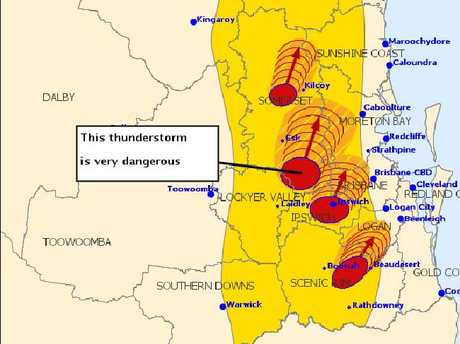 The 2.29pm Bureau of Meteorology severe thunderstorm warning.
