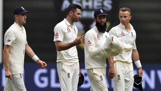 From L-R: England's Chris Woakes, James Anderson, Moeen Ali and Tom Curran.