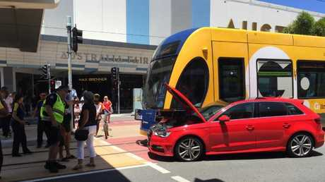 A car has smashed into the tram at Southport. Photo: Hannah Sbeghen