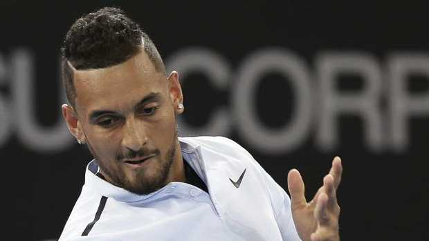 Nick Kyrgios on his way to beating Matthew Ebden at the Brisbane International on Wednesday.