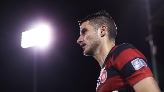 SYDNEY, AUSTRALIA — APRIL 11: Terry Antonis of the Wanderers walks onto the pitch during the AFC Champions League match between the Western Sydney Wanderers and FC Seoul at Campbelltown Sports Stadium on April 11, 2017 in Sydney, Australia. (Photo by Ryan Pierse/Getty Images)