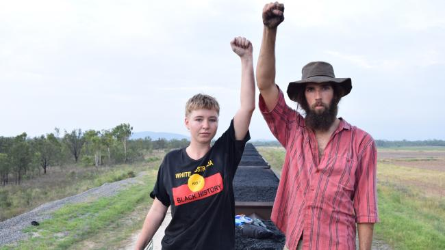 Front Line Action on Coal activists aboard the coal train. Photo Front Line Action on Coal